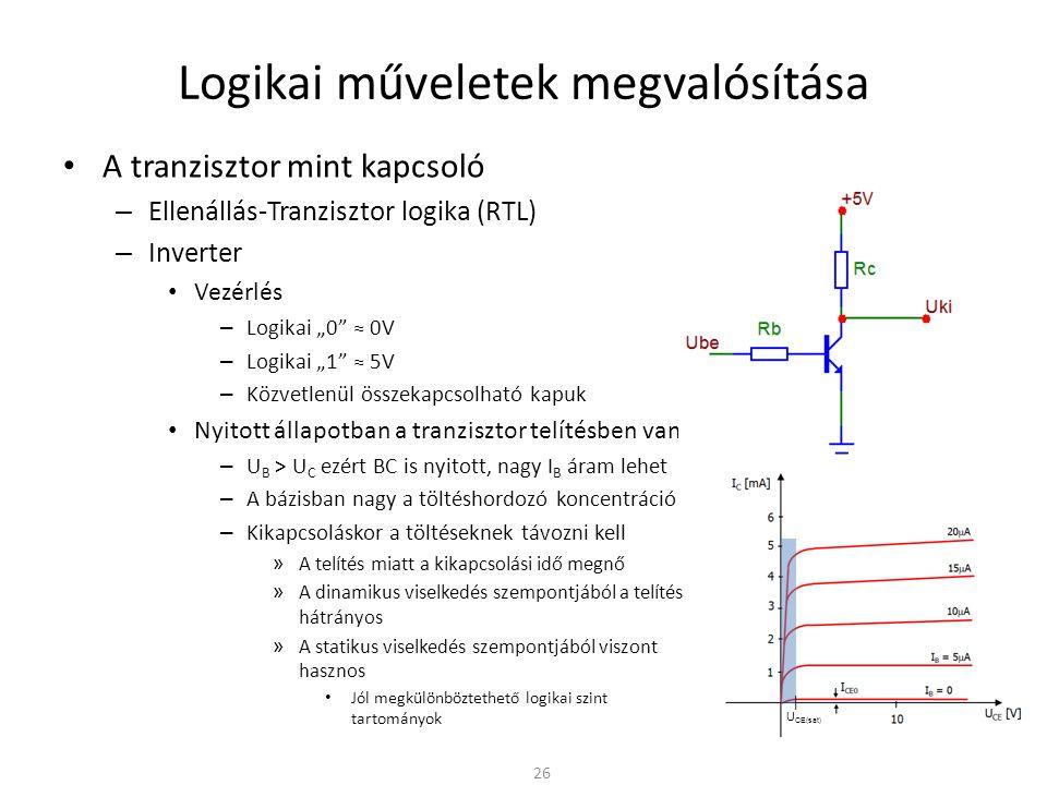 Logikai műveletek megvalósítása A tranzisztor mint kapcsoló – Ellenállás-Tranzisztor logika (RTL) Hátrányok – A telítés miatt a bázisban nagy a töltéshordozó koncentráció » A nyitáshoz a bázisban töltéshordozóknak kell felhalmozódnia » A lezáráshoz a bázisból a töltéshordozókat ki kell üríteni – A tranzisztor kapacitásának feltöltése-kisütése (ki/be kapcsolás) lassú » Korlátozott működési frekvencia » Szabadon hagyott bemenet érzékeny a zavarokra 27 MC példa