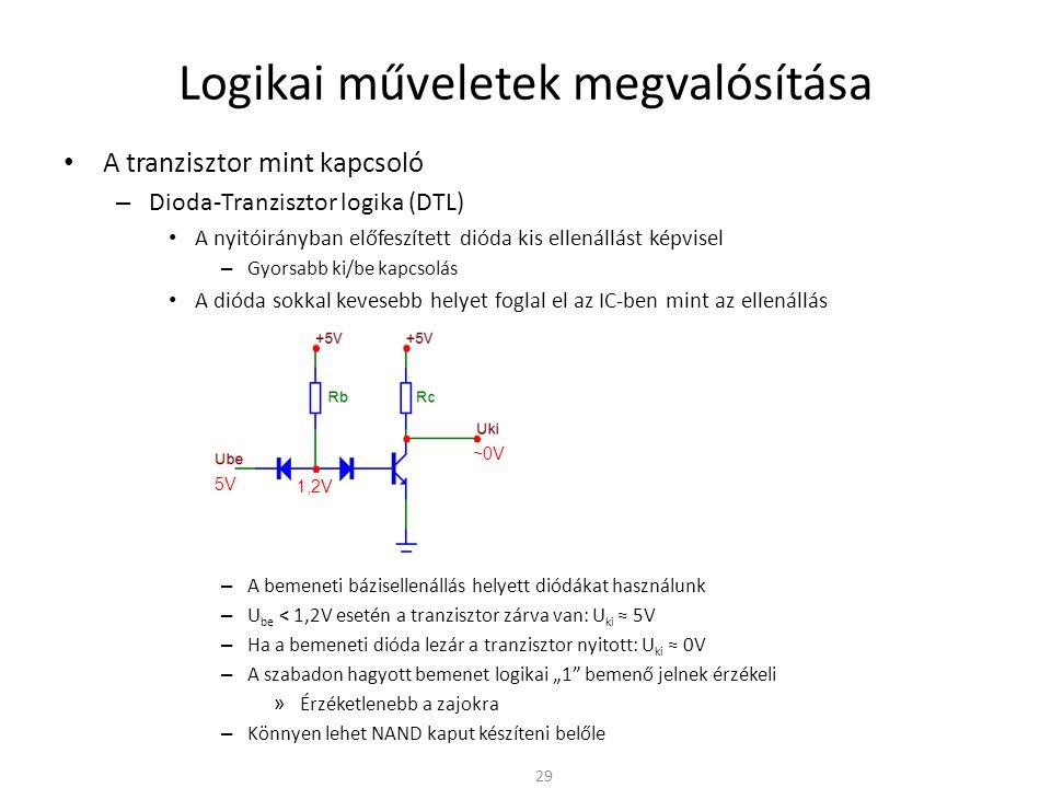 Logikai műveletek megvalósítása A tranzisztor mint kapcsoló – Dioda-Tranzisztor logika (DTL) A nyitóirányban előfeszített dióda kis ellenállást képvis