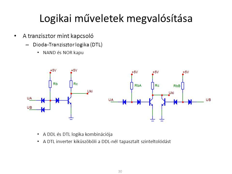 Logikai műveletek megvalósítása A tranzisztor mint kapcsoló – Dioda-Tranzisztor logika (DTL) NAND és NOR kapu A DDL és DTL logika kombinációja A DTL i