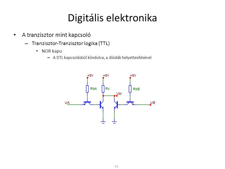 Digitális elektronika A tranzisztor mint kapcsoló – Nyitott állapotban a tranzisztor telítésben van U B > U C ezért BC is nyitott, nagy I B áram A bázisban nagy a töltéshordozó koncentráció Kikapcsoláskor a töltéseknek távozni kell – A telítés miatt a kikapcsolási idő megnő – A dinamikus viselkedés szempontjából a telítés hátrányos – A statikus viselkedés szempontjából viszont hasznos – Meg kellene akadályozni a telítést BC közé kapcsolt kis nyitófeszültségű dióda – Schottky dióda nyitó fesz.: ≈ 0,4V – A BC nyitófeszültséget korlátozza – A nyitott BE fesz.: U BE ≈ 0,7 – A nyitott BC fesz.: U BE ≈ 0,4 – A CE fesz.: U CE = U BE - U BC Gyors kikapcsolású tranzisztor – Speciális jelölés 34 ~0,7V ~0,4V 5V ~0,3V MC példa