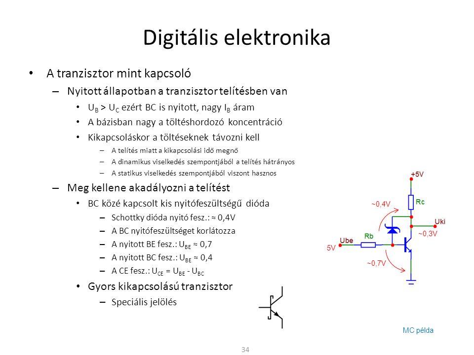 Digitális elektronika A tranzisztor mint kapcsoló – Nyitott állapotban a tranzisztor telítésben van U B > U C ezért BC is nyitott, nagy I B áram A báz