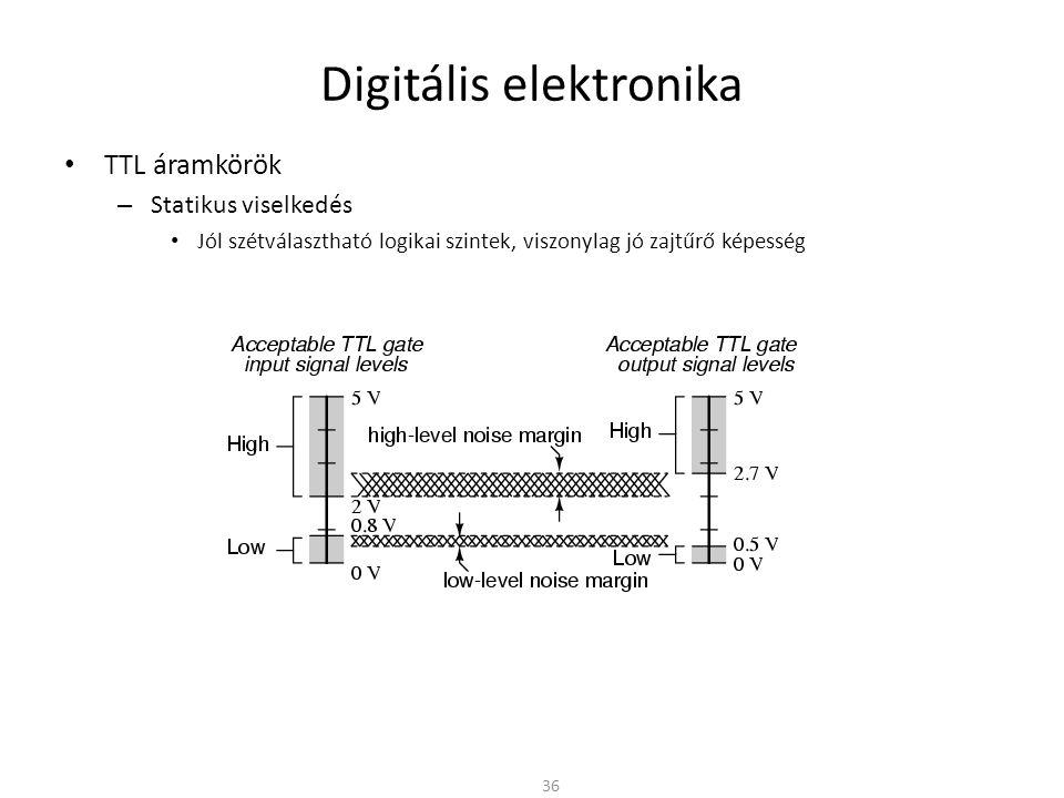 Digitális elektronika TTL áramkörök – Statikus viselkedés Jól szétválasztható logikai szintek, viszonylag jó zajtűrő képesség – Dinamikus viselkedés Schottky tranzisztoros kapcsolással elég gyors kapcsolási idő (t pd ≈ 2..10ns) – Teljesítményviszonyok Statikus – Bekapcsolt állapotban a kollektor ellenálláson teljesítmény disszipálódik – Kikapcsolt állapotban kisebb a veszteség » A következő fokozat meghajtására áramot kell biztosítani (áramvezérelt eszköz) Dinamikus – A tranzisztor ki/bekapcsolásához töltéseket kell mozgatni – A működési frekvencia növekedésével egységnyi idő alatt egyre több ki/bekapcsolás » Növekszik a dinamikus teljesítményfelvétel Bonyolult logikai áramkörökben sok kapu – TTL-ből felépítve nagy teljesítményfelvétel – Hűteni kell – Vagy egyéb megoldás (más kapcsolóelem) 37