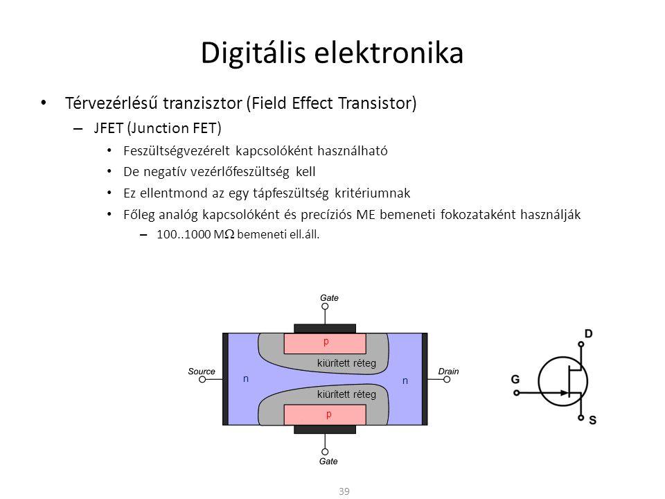 Digitális elektronika Térvezérlésű tranzisztor (Field Effect Transistor) – MOSFET (Metall Oxid Semiconductor FET) Gyengén szennyezett p-típusú alaplemez (substrate) Erősen szennyezett n-típusú Source és Drain Gate fémréteg – Régebben Al : könnyebben felvihető; Si: Rossz vezető de könnyen gyártható – Ma Cu: Az átkapcsoláskor folyó áram miatt jó vezető kell A Gate alatt vékony (1..100nm vastag) szigetelő oxidréteg – Nem vezet 40 Animáció n+n+ n+n+ p-p- Fémezés Oxid réteg