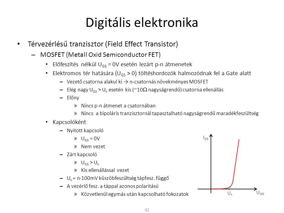 Digitális elektronika Térvezérlésű tranzisztor (Field Effect Transistor) – MOSFET (Metall Oxid Semiconductor FET) Hátrány – Az elszigetelt Gate miatt kapacitásként viselkedik – A vékony szigetelő rétegen nagyobb vezérlő fesz.