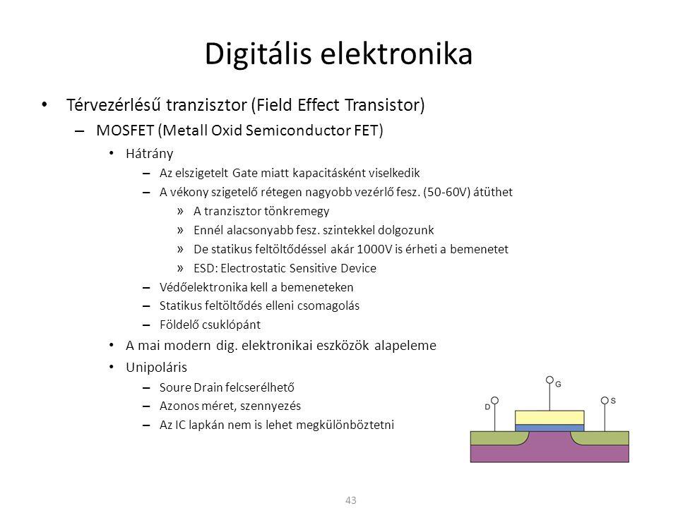Digitális elektronika Térvezérlésű tranzisztor (Field Effect Transistor) – MOSFET (Metall Oxid Semiconductor FET) NMOS logika – Az alap inverterben cseréljük le a bipoláris tranzisztort – Az alaplemezt (substrate-ot) a földre kell kötni – Nem kell soros bemeneti ellenállás – A következő fokozat statikus meghajtásához nem kell áram » Ha a tranzisztor le van zárva (nyitott kapcsoló) I D = 0 44 I D = 0 0V 5V
