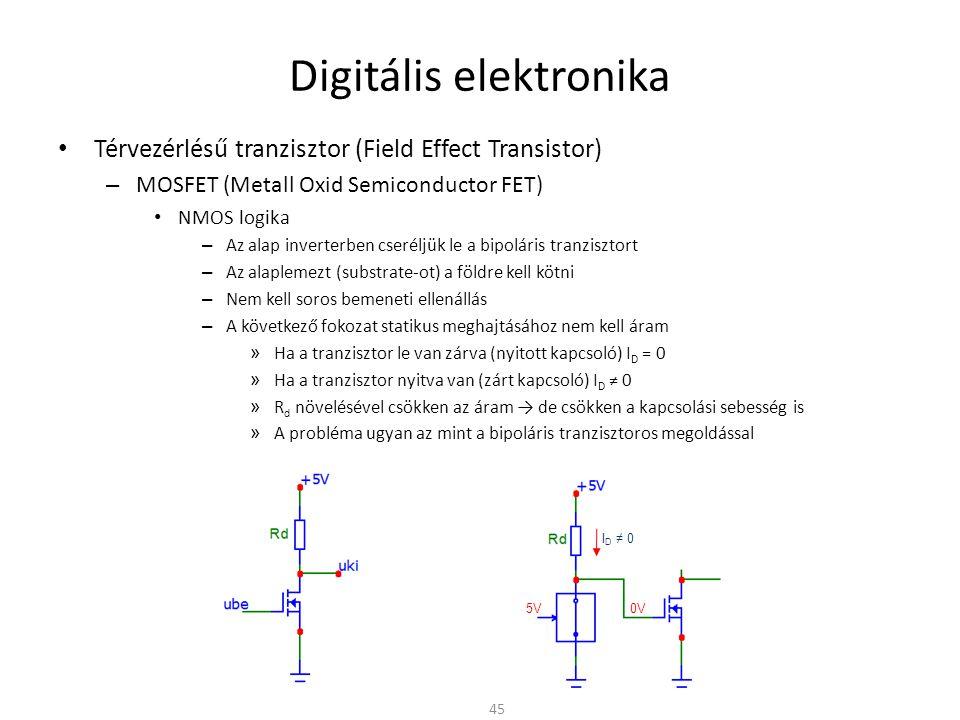 Digitális elektronika Térvezérlésű tranzisztor (Field Effect Transistor) – MOSFET (Metall Oxid Semiconductor FET) PMOS logika – Az alap inverterben cseréljük le a bipoláris tranzisztort – Az alaplemezt (substrate-ot) a tápra kell kötni – A bemenetre tápfeszültséget adva a pMOSFET zárva van 46 I D = 0 5V 0V