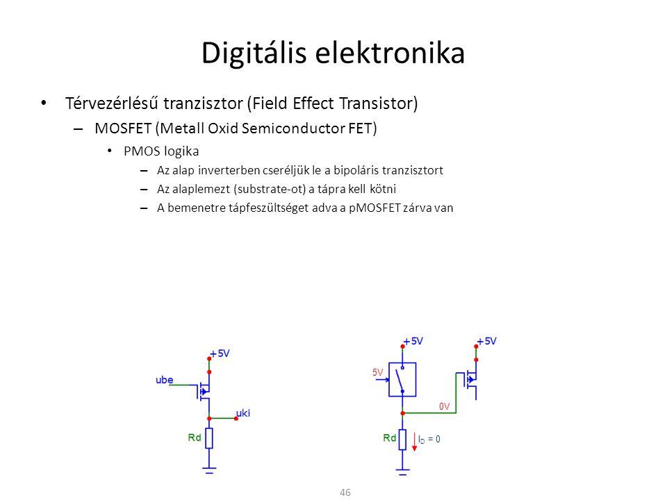 Digitális elektronika Térvezérlésű tranzisztor (Field Effect Transistor) – MOSFET (Metall Oxid Semiconductor FET) PMOS logika – Az alap inverterben cseréljük le a bipoláris tranzisztort – Az alaplemezt (substrate-ot) a tápra kell kötni – A bemenetre tápfeszültséget adva a pMOSFET zárva van – A bemenetet földre kötve a pMOSFET kinyit – A problémák még mindig fennállnak » Ha a tranzisztor nyitva van (zárt kapcsoló) I D ≠ 0 » R d növelésével csökken az áram → de csökken a kapcsolási sebesség is 47 I D ≠ 0 0V 5V