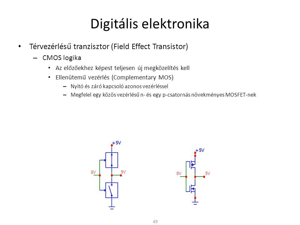 Digitális elektronika Térvezérlésű tranzisztor (Field Effect Transistor) – CMOS logika Az előzőekhez képest teljesen új megközelítés kell Ellenütemű vezérlés (Complementary MOS) – Nyitó és záró kapcsoló azonos vezérléssel – Megfelel egy közös vezérlésű n- és egy p-csatornás növekményes MOSFET-nek – Statikus áramfelvétel zérus » A kimenet vagy a tápra vagy a földre van kapcsolva » A kis értékű (~10  nagyságrendű) csatorna ellenálláson keresztül – Probléma: n- és p-csatornás MOSFET-et egy lapkán kell megvalósítani 50 5V 0V 5V 0V