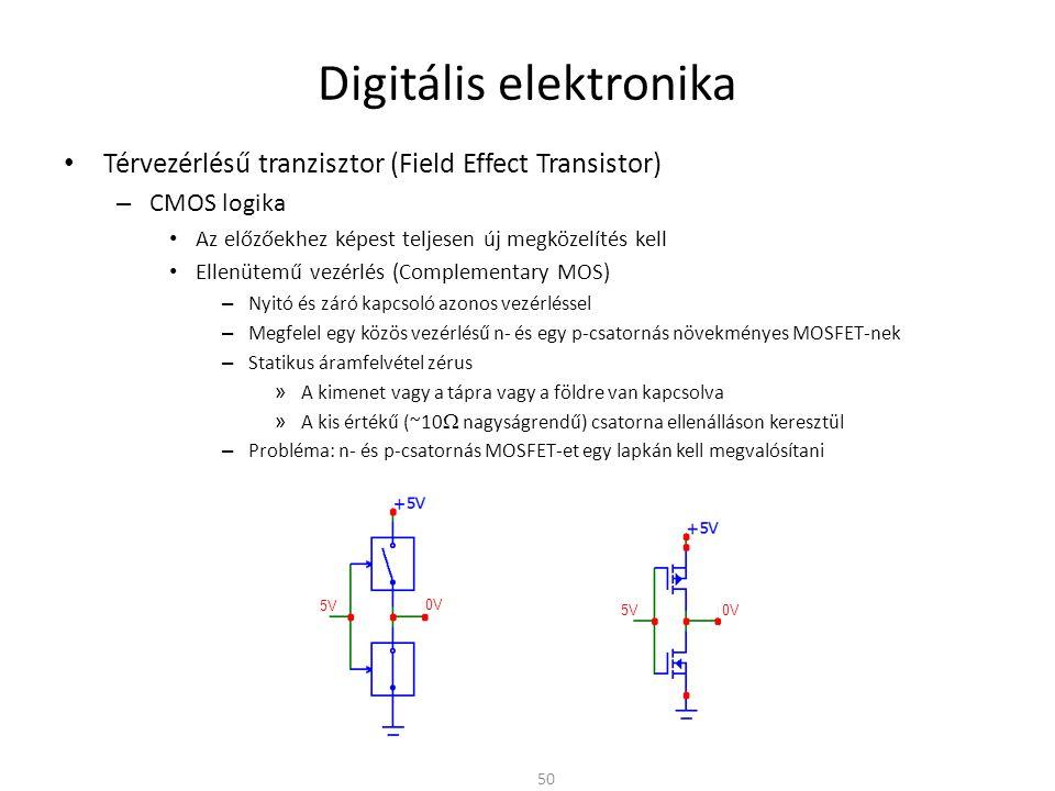 """Digitális elektronika CMOS áramkörök – Hagyományos CMOS gyártástechnológia P-típusú zseb – N-típusú alaplemez (substrate) – N-csatornás MOSFET-hez p-típusú """"zsebet alakítanak ki az alaplemezben – P-csatornás MOSFET közvetlenül az alaplemezben N-típusú zseb – P-típusú alaplemez (substrate) – P-csatornás MOSFET-hez n-típusú """"zsebet alakítanak ki az alaplemezben – N-csatornás MOSFET közvetlenül az alaplemezben –Silicon-on-Insulator (SOI) CMOS technológia Teljesen izolált nMOS és pMOS tranzisztorok egymás mellet Nincsenek zsebek Drágább, de jobb tulajdonságú tranzisztorok –3D tranzisztor (Intel)3D tranzisztor (Intel) 51"""