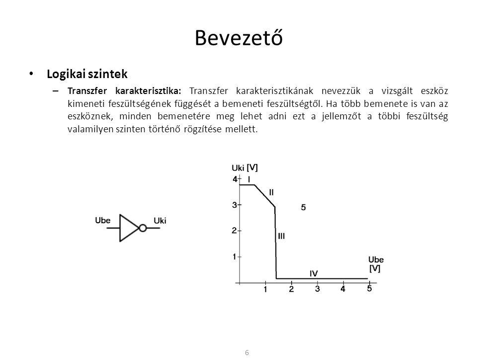 Bevezető Logikai szintek – Transzfer karakterisztika: Transzfer karakterisztikának nevezzük a vizsgált eszköz kimeneti feszültségének függését a bemen