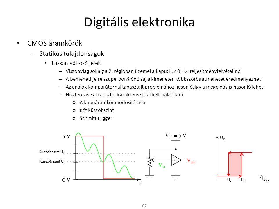 Digitális elektronika CMOS áramkörök – Dinamikus tulajdonságok Az egymás után kapcsolódó CMOS kapuk – Egymásra nézve kapacitív terhelést jelentenek – Ki-be kapcsolásnál fel kell tölteni ill.