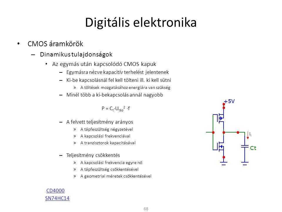 Digitális elektronika CMOS áramkörök – Dinamikus tulajdonságok Az egymás után kapcsolódó CMOS kapuk – Egymásra nézve kapacitív terhelést jelentenek –