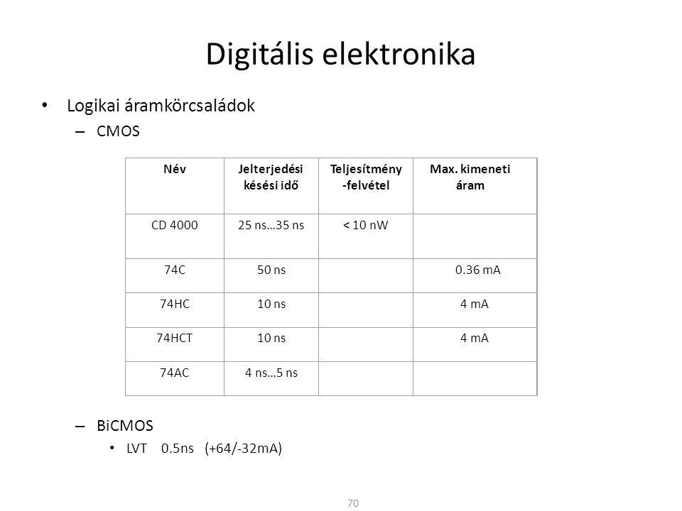Digitális elektronika Logikai áramkörcsaládok közötti átjárás – Open collector (Open Drain) A hagyományos kimeneti fokozat helyett nyitott kollektoros tranzisztor A kimeneti tranzisztor (lehet FET is) nagyobb feszültséget és áramot is elvisel – Közvetlenül terhelést lehet kapcsolni a kimenetre (relé, izzó stb…) – A kimenet a meghajtó fokozattól eltérő tápfeszültségre is köthető – Különböző tápfeszültségű logikai családok is összekapcsolhatók 71