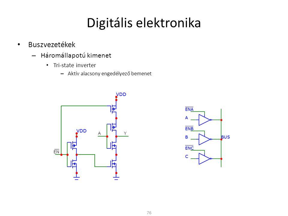 """Digitális elektronika Buszvezetékek – Bus-hold Ha 3-állapotú kimenetek mindegyike nagyimpedanciás (""""Z ) Lebegő bemenet az inverteren – A szabadon hagyott (lebegő) CMOS bemenet bizonytalan kimenetet eredményez Megoldás – Megfelelő buszvezérlés – Felhúzó ellenállás » Ha nagy értékű kis statikus áramfelvétel, de lassabb működés » Ha kis értékű, nagy statikus áramfelvétel 77 """"Z """"1"""