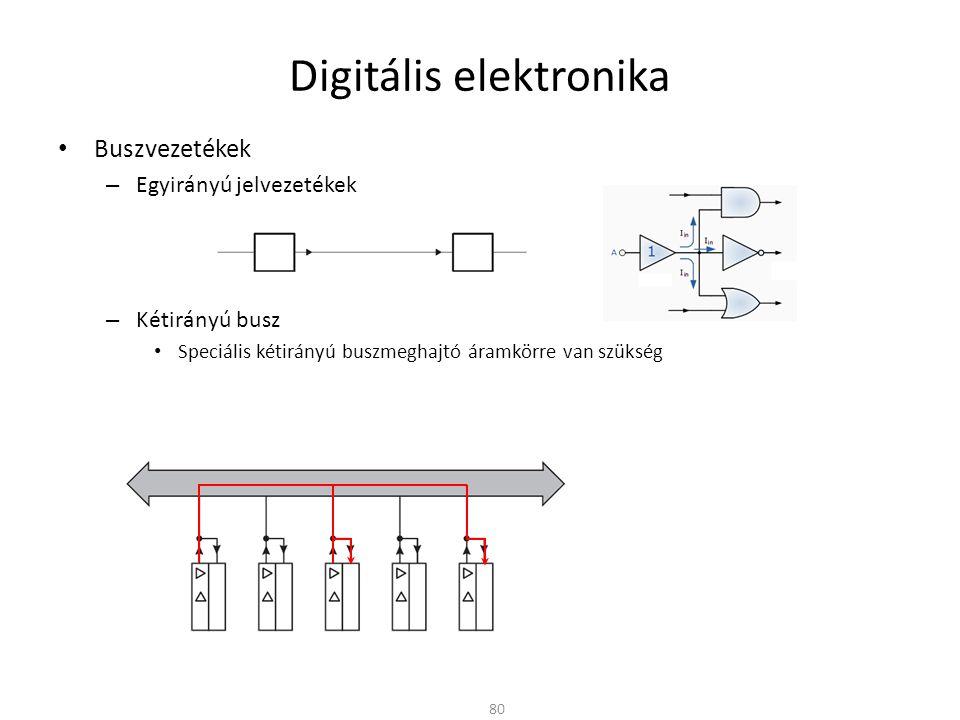Digitális elektronika Buszvezetékek – Egyirányú jelvezetékek – Kétirányú busz Speciális kétirányú buszmeghajtó áramkörre van szükség – Normál buffer + – Tri-state buffer 81