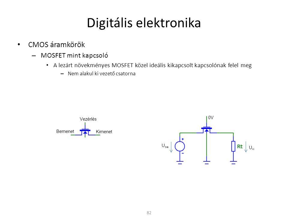 Digitális elektronika CMOS áramkörök – MOSFET mint kapcsoló A lezárt növekményes MOSFET közel ideális kikapcsolt kapcsolónak felel meg – Nem alakul ki vezető csatorna A vezető tranzisztor csatorna-ellenállása viszont függ – U GS -től – U SD -től 83 U be U ki 5V Bemenet Kimenet Vezérlés