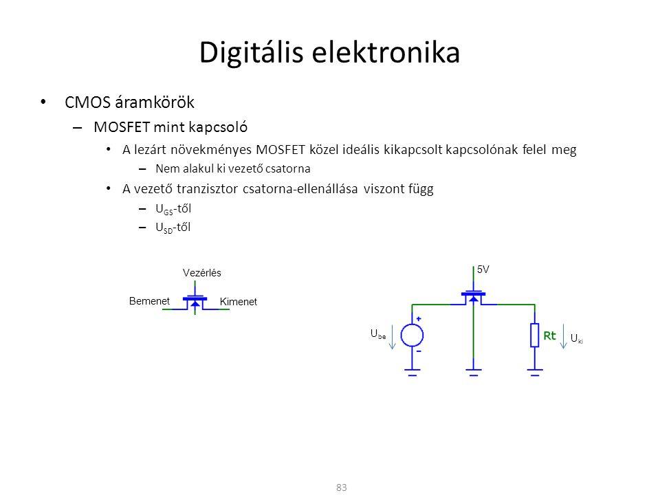 Digitális elektronika CMOS áramkörök – MOSFET mint kapcsoló 84 U be 5V 1V 2V 1V 2V 3V 4V 5V 0V U be U ki 1V 2V 3V 4V 5V 0V U be 2M  1M  R on U ki UmUm