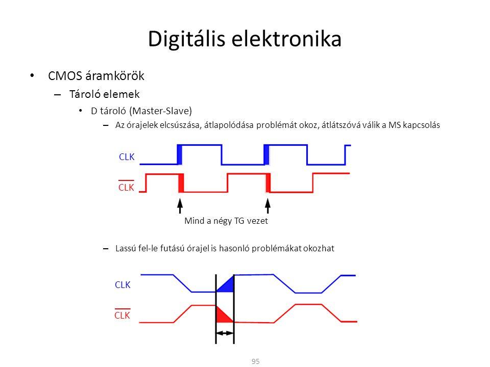 Digitális elektronika CMOS áramkörök – Tároló elemek D tároló (Master-Slave) – Az órajelek elcsúszása, átlapolódása problémát okoz, átlátszóvá válik a