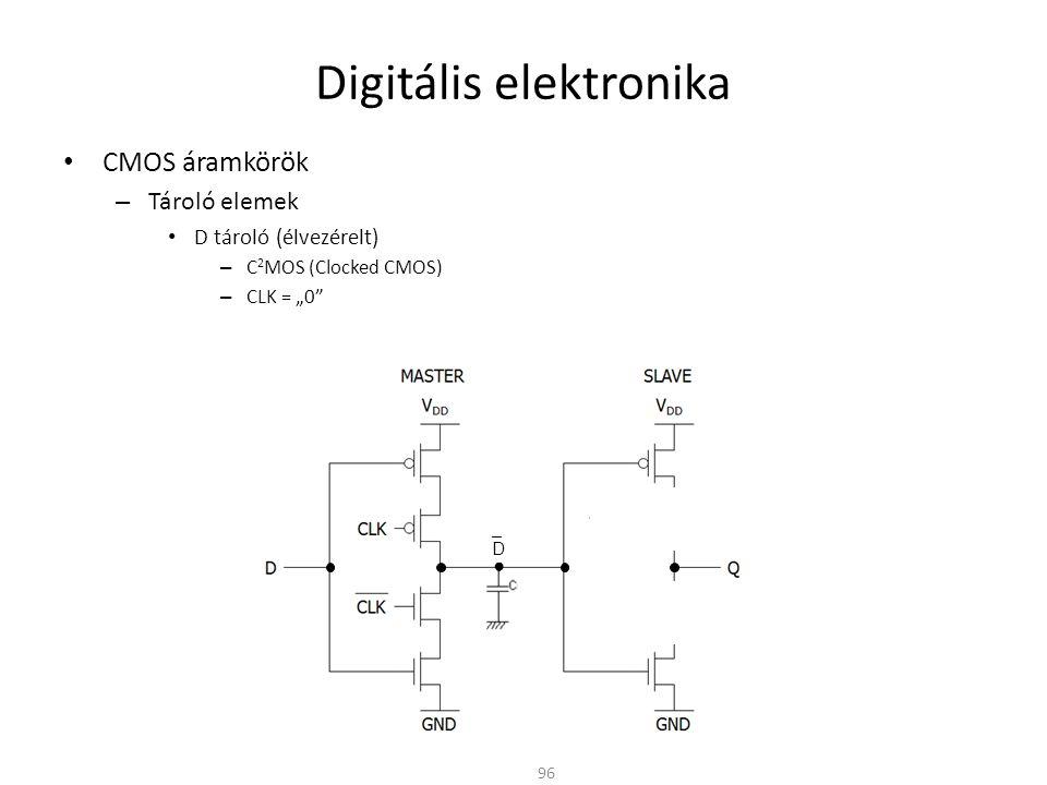 """Digitális elektronika CMOS áramkörök – Tároló elemek D tároló (élvezérelt) – C 2 MOS (Clocked CMOS) – CLK = """"0"""" 96 ● _D_D"""