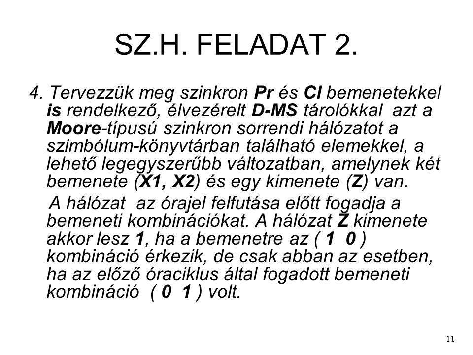 11 SZ.H. FELADAT 2. 4. Tervezzük meg szinkron Pr és Cl bemenetekkel is rendelkező, élvezérelt D-MS tárolókkal azt a Moore-típusú szinkron sorrendi hál