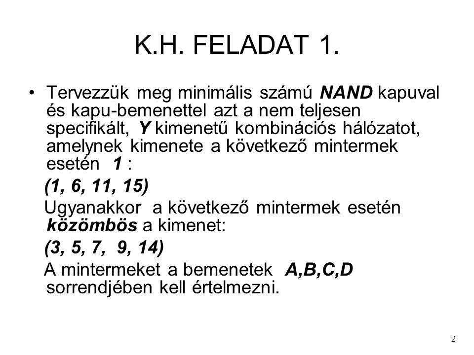 2 K.H. FELADAT 1. Tervezzük meg minimális számú NAND kapuval és kapu-bemenettel azt a nem teljesen specifikált, Y kimenetű kombinációs hálózatot, amel
