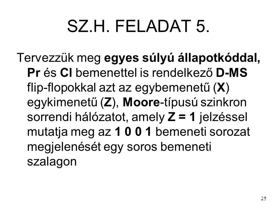 25 SZ.H. FELADAT 5. Tervezzük meg egyes súlyú állapotkóddal, Pr és Cl bemenettel is rendelkező D-MS flip-flopokkal azt az egybemenetű (X) egykimenetű