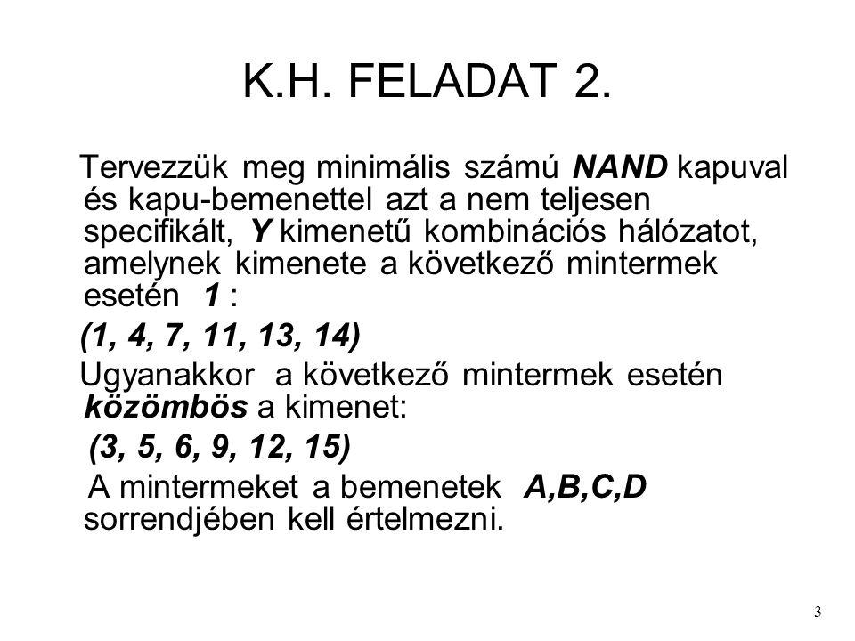 3 K.H. FELADAT 2. Tervezzük meg minimális számú NAND kapuval és kapu-bemenettel azt a nem teljesen specifikált, Y kimenetű kombinációs hálózatot, amel