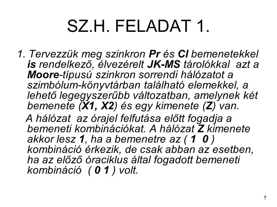 5 SZ.H. FELADAT 1. 1. Tervezzük meg szinkron Pr és Cl bemenetekkel is rendelkező, élvezérelt JK-MS tárolókkal azt a Moore-típusú szinkron sorrendi hál