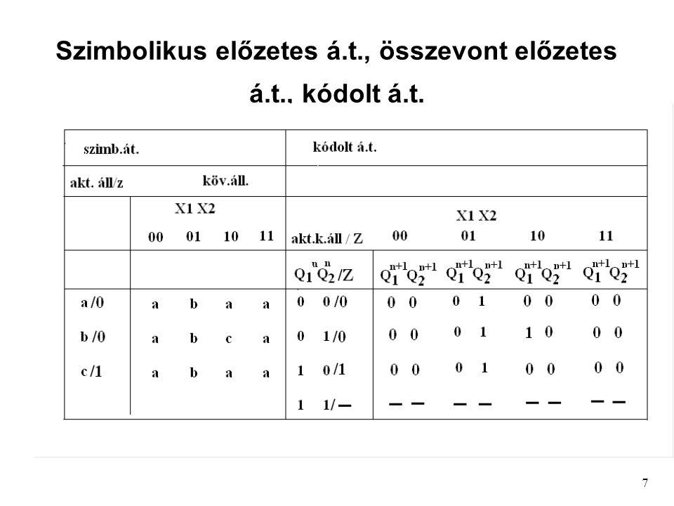 7 Szimbolikus előzetes á.t., összevont előzetes á.t., kódolt á.t.