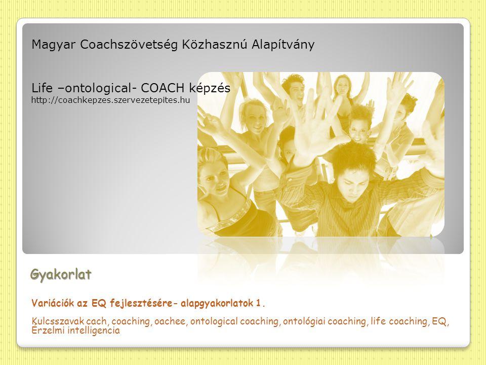 Gyakorlat Variációk az EQ fejlesztésére- alapgyakorlatok 1. Kulcsszavak cach, coaching, oachee, ontological coaching, ontológiai coaching, life coachi