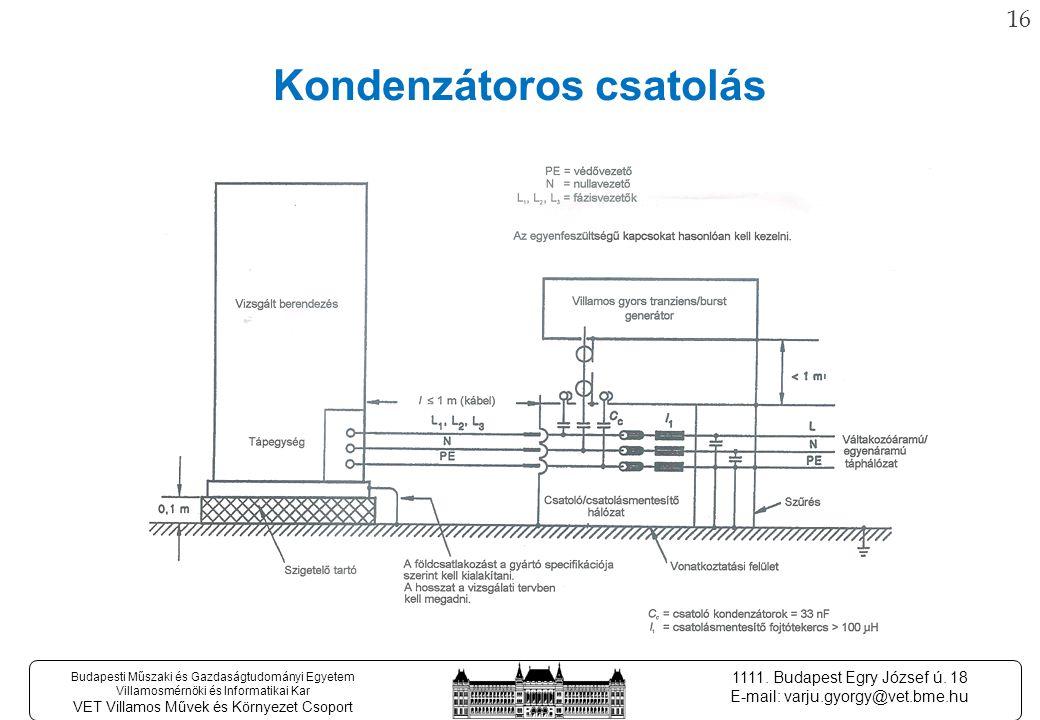 15 Budapesti Műszaki és Gazdaságtudományi Egyetem Villamosmérnöki és Informatikai Kar VET Villamos Művek és Környezet Csoport 1111.