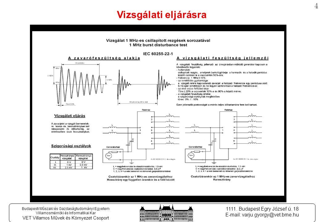 4 Budapesti Műszaki és Gazdaságtudományi Egyetem Villamosmérnöki és Informatikai Kar VET Villamos Művek és Környezet Csoport 1111.