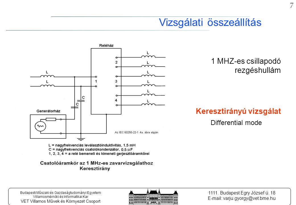 17 Budapesti Műszaki és Gazdaságtudományi Egyetem Villamosmérnöki és Informatikai Kar VET Villamos Művek és Környezet Csoport 1111.