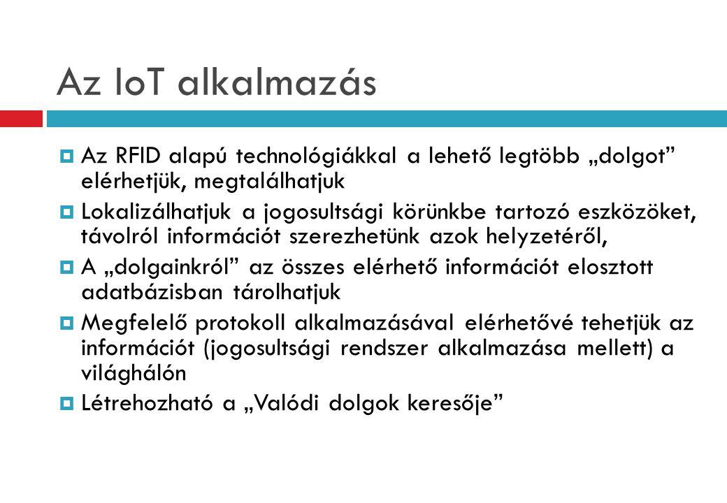 """Az IoT alkalmazás  Az RFID alapú technológiákkal a lehető legtöbb """"dolgot elérhetjük, megtalálhatjuk  Lokalizálhatjuk a jogosultsági körünkbe tartozó eszközöket, távolról információt szerezhetünk azok helyzetéről,  A """"dolgainkról az összes elérhető információt elosztott adatbázisban tárolhatjuk  Megfelelő protokoll alkalmazásával elérhetővé tehetjük az információt (jogosultsági rendszer alkalmazása mellett) a világhálón  Létrehozható a """"Valódi dolgok keresője"""