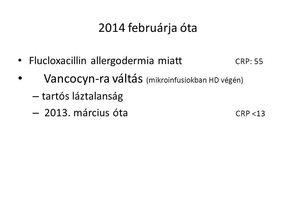 2014 februárja óta Flucloxacillin allergodermia miatt CRP: 55 Vancocyn-ra váltás (mikroinfusiokban HD végén) – tartós láztalanság – 2013. március óta