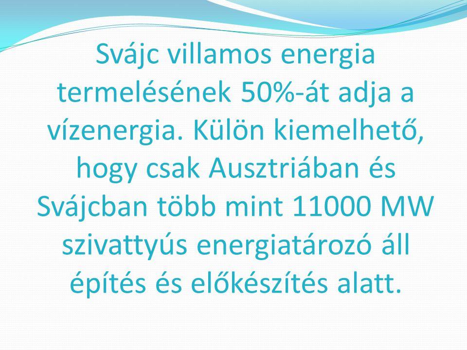 Svájc villamos energia termelésének 50%-át adja a vízenergia. Külön kiemelhető, hogy csak Ausztriában és Svájcban több mint 11000 MW szivattyús energi