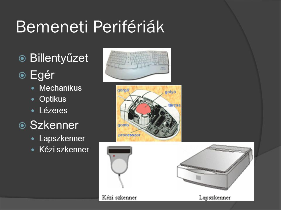 Bemeneti Perifériák  Billentyűzet  Egér Mechanikus Optikus Lézeres  Szkenner Lapszkenner Kézi szkenner