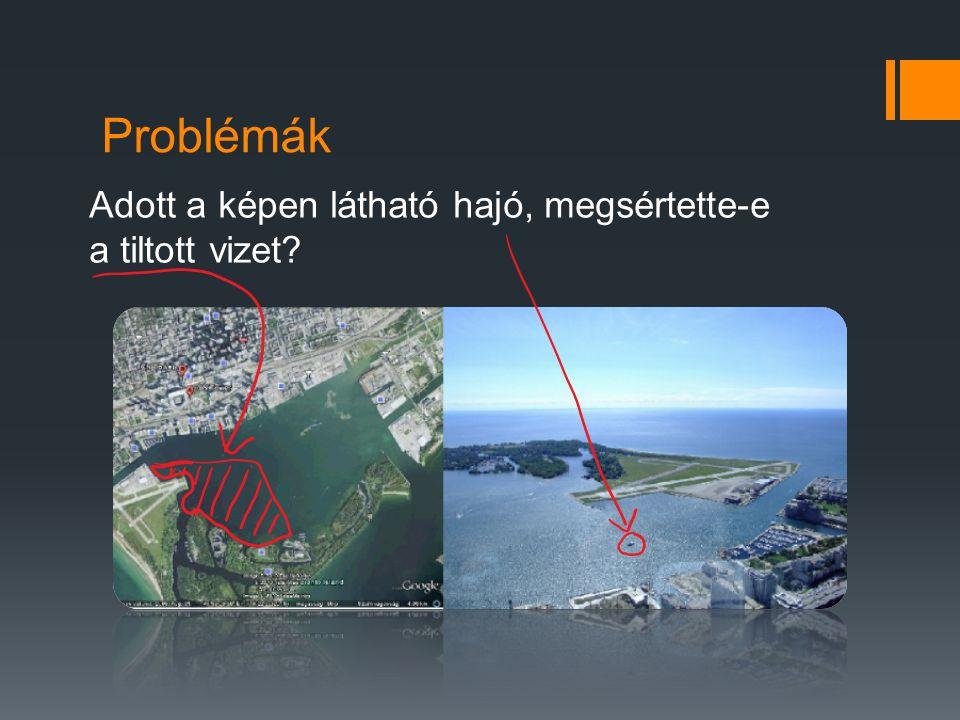 Problémák Adott a képen látható hajó, megsértette-e a tiltott vizet?