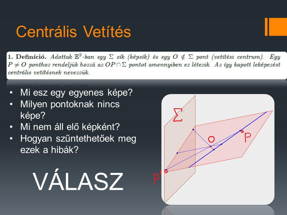 Centrális Vetítés Mi esz egy egyenes képe? Milyen pontoknak nincs képe? Mi nem áll elő képként? Hogyan szűntethetőek meg ezek a hibák? VÁLASZ
