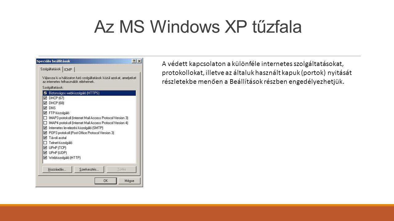 Az MS Windows XP tűzfala A védett kapcsolaton a különféle internetes szolgáltatásokat, protokollokat, illetve az általuk használt kapuk (portok) nyitá