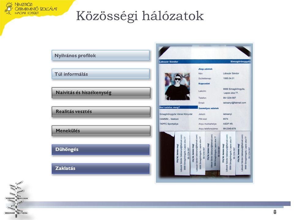 Közösségi hálózatok Nyilvános profilok Naivitás és hiszékenység ZaklatásDühöngés Túl informálás Realitás vesztésMenekülés 8