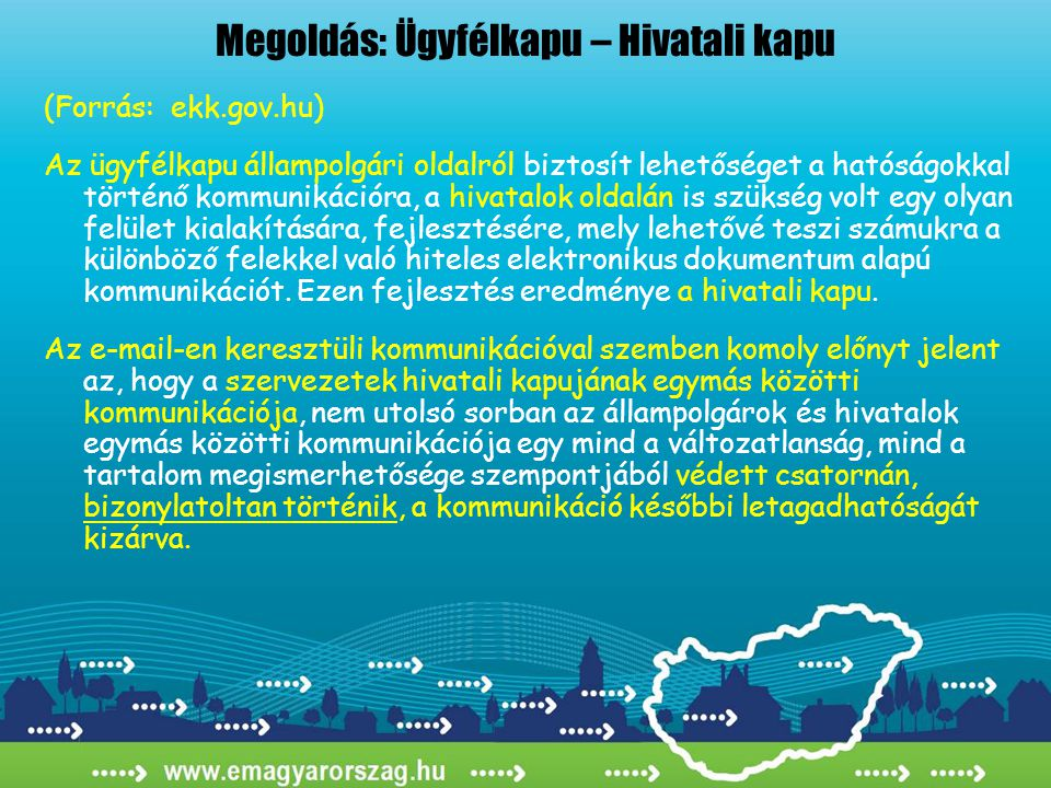 Megoldás: Ügyfélkapu – Hivatali kapu (Forrás: ekk.gov.hu) Az ügyfélkapu állampolgári oldalról biztosít lehetőséget a hatóságokkal történő kommunikáció