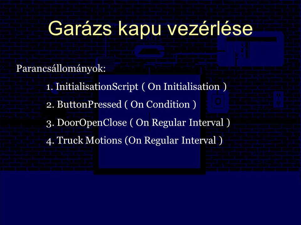 Garázs kapu vezérlése Parancsállományok: 1. InitialisationScript ( On Initialisation ) 2.
