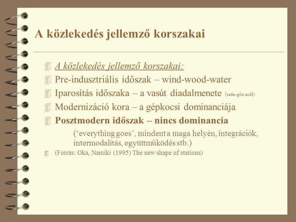 4 A közlekedés jellemző korszakai: 4 Pre-indusztriális időszak – wind-wood-water 4 Iparosítás időszaka – a vasút diadalmenete (szén-gőz-acél) 4 Modern