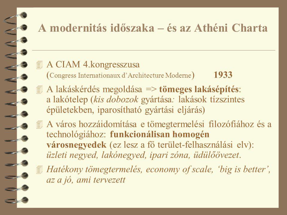 A modernitás időszaka – és az Athéni Charta 4 A CIAM 4.kongresszusa ( Congress Internationaux d'Architecture Moderne ) 1933 4 A lakáskérdés megoldása