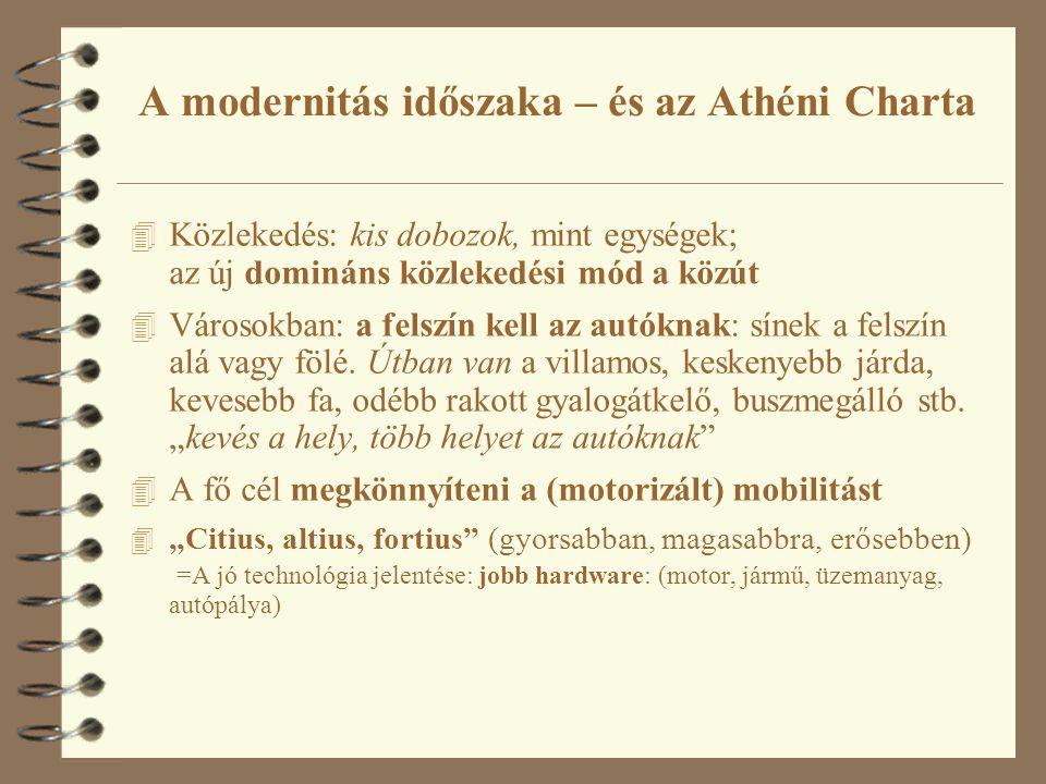 A modernitás időszaka – és az Athéni Charta 4 Közlekedés: kis dobozok, mint egységek; az új domináns közlekedési mód a közút 4 Városokban: a felszín k