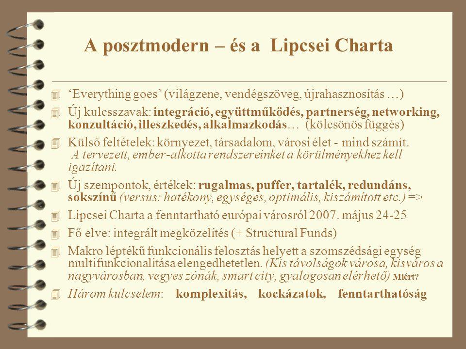 A posztmodern – és a Lipcsei Charta 4 'Everything goes' (világzene, vendégszöveg, újrahasznosítás …) 4 Új kulcsszavak: integráció, együttműködés, part