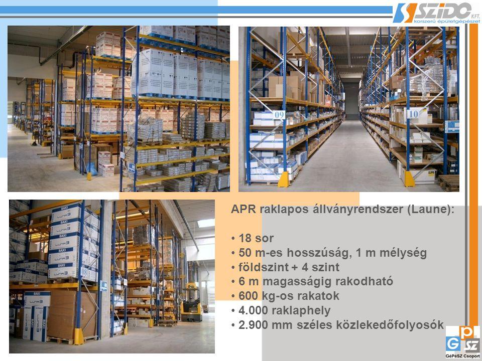 APR raklapos állványrendszer (Laune): 18 sor 50 m-es hosszúság, 1 m mélység földszint + 4 szint 6 m magasságig rakodható 600 kg-os rakatok 4.000 raklaphely 2.900 mm széles közlekedőfolyosók