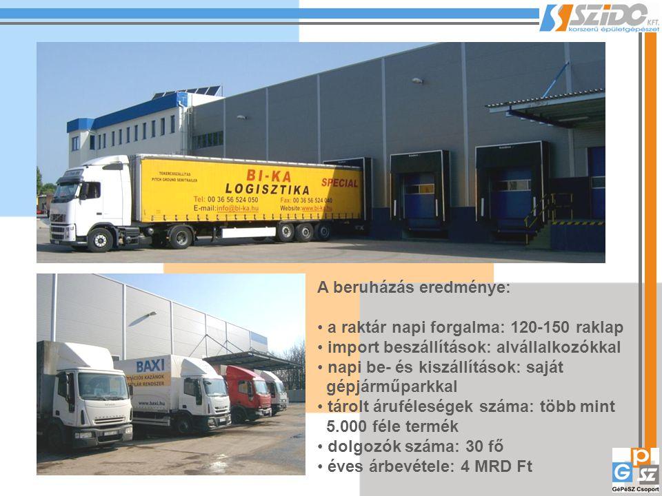 A beruházás eredménye: a raktár napi forgalma: 120-150 raklap import beszállítások: alvállalkozókkal napi be- és kiszállítások: saját gépjárműparkkal