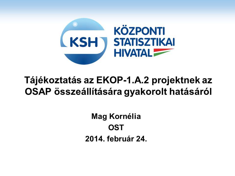 Tájékoztatás az EKOP-1.A.2 projektnek az OSAP összeállítására gyakorolt hatásáról Mag Kornélia OST 2014.
